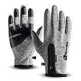 T98 Touchscreen Handschuhe, Fahrradhandschuhe Laufhandschuhe Winter Warme Sporthandschuhe Herren Damen Winddicht Wasserdichter Winterhandschuhe für Radfahren, Wandern, Skifahren (Gray, L)