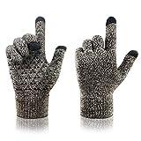arteesol Knit Handschuhe Winter warme Handschuhe, Winddichte Anti-Rutsch-Touchscreen-Handschuhe Verd (Kaffee weiß)